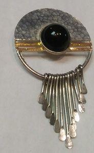 Bundle💋Vtg 80s abstract silver fringe boho brooch